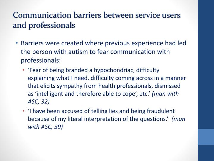 Communication barriers between