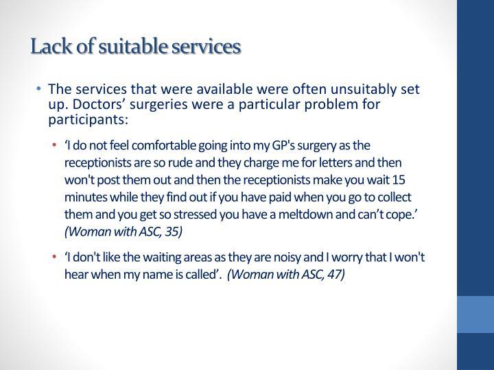 Lack of suitable services