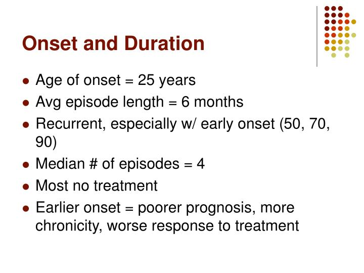 Onset and Duration