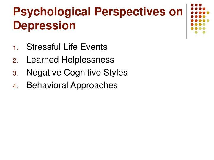 Psychological Perspectives on Depression