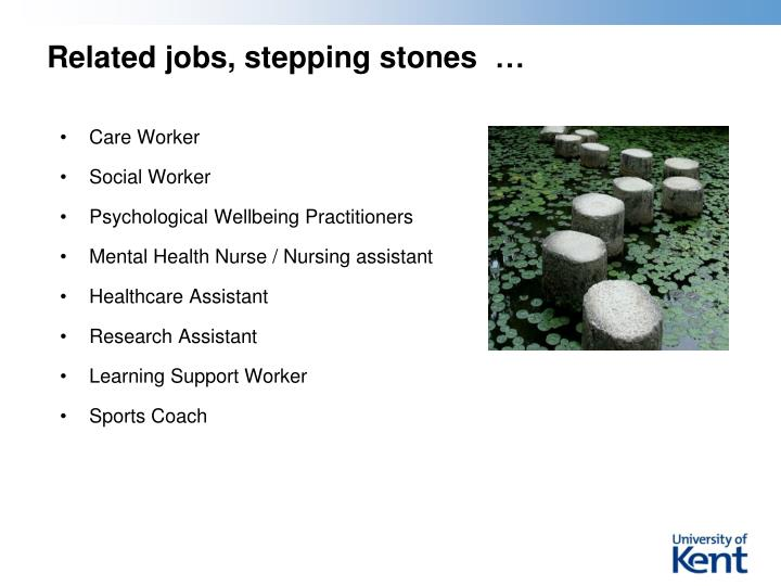 Related jobs, stepping stones  …