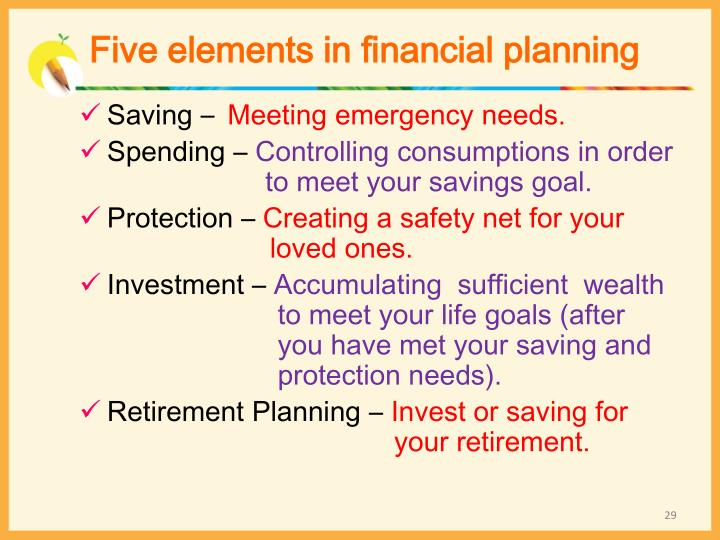 Five elements in financial planning