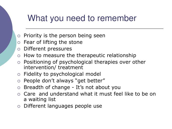 What you need to remember