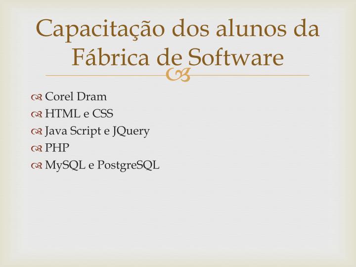 Capacitação dos alunos da Fábrica de Software