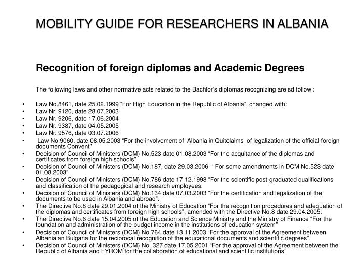MOBILITY GUIDE FOR RESEARCHERS IN ALBANIA