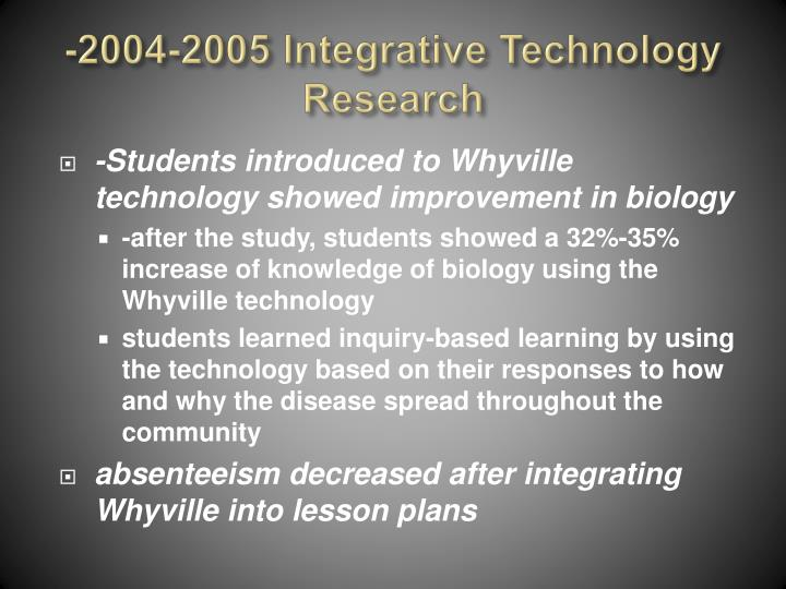 -2004-2005 Integrative Technology Research