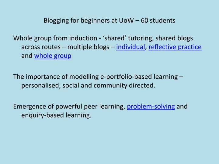 Blogging for beginners at UoW – 60 students