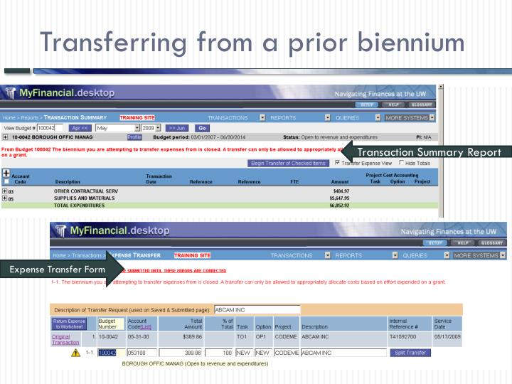 Transferring from a prior biennium