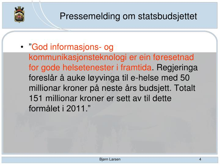 Pressemelding om statsbudsjettet
