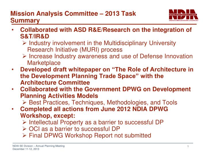 Mission analysis committee 2013 task summary