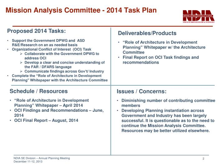 Mission analysis committee 2014 task plan