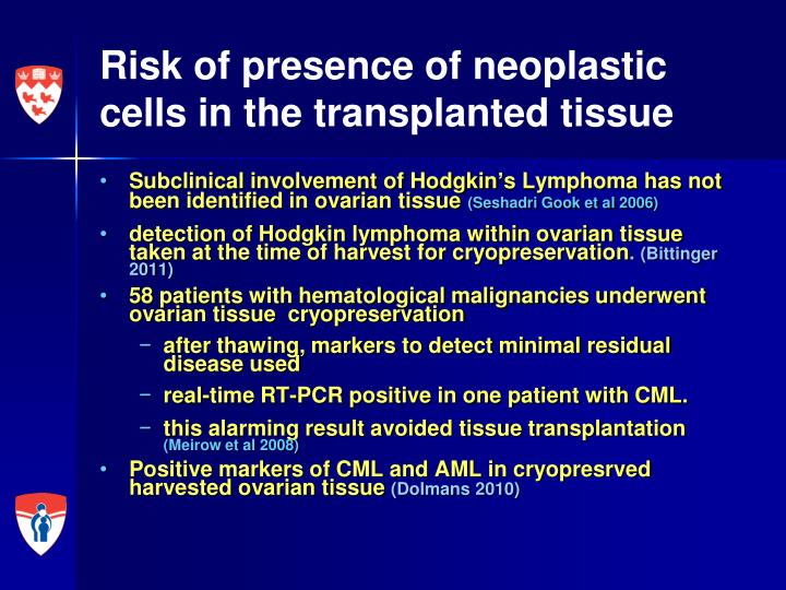 Risk of presence of neoplastic cells in the transplanted tissue