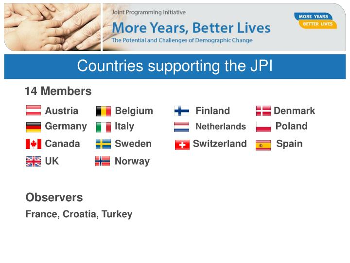 Countries supporting the jpi