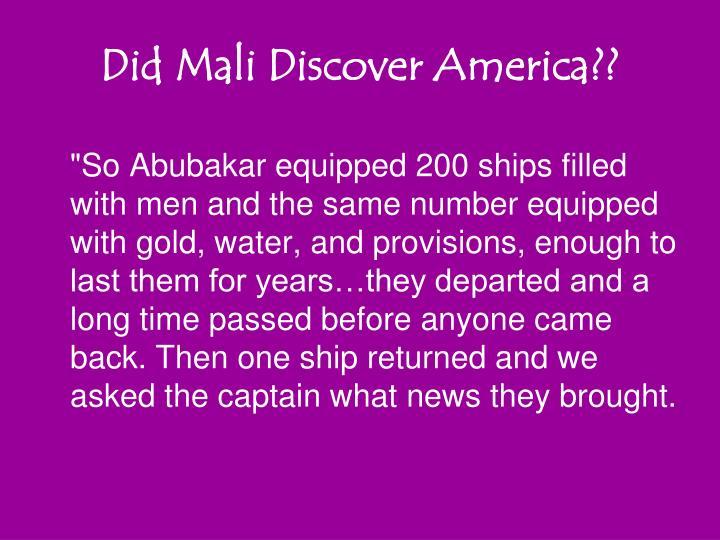 Did Mali Discover America??