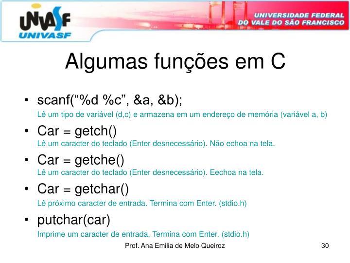 Algumas funções em C