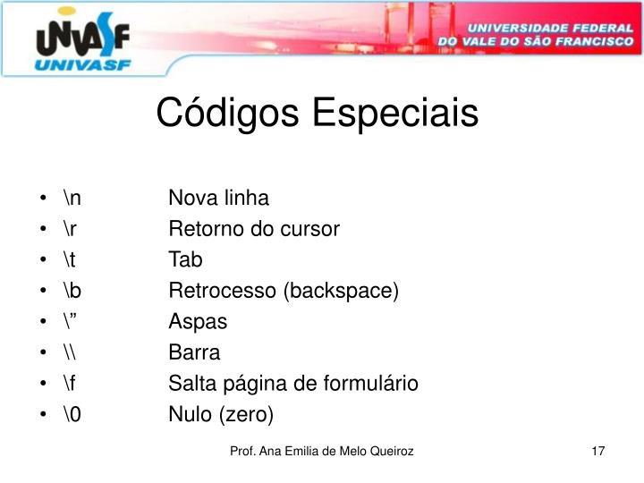 Códigos Especiais