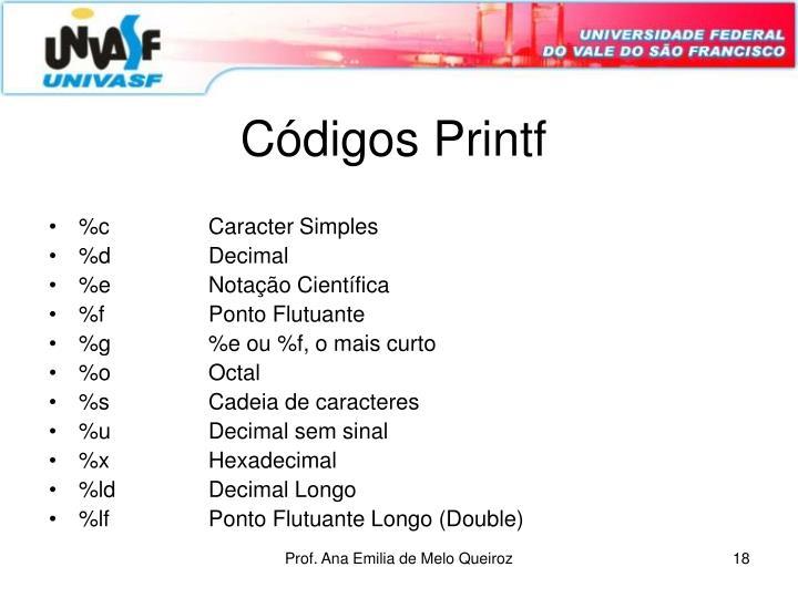 Códigos Printf