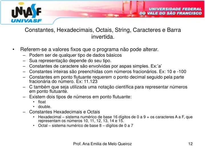 Constantes, Hexadecimais, Octais, String, Caracteres e Barra invertida.