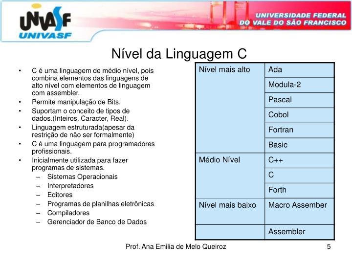 Nível da Linguagem C