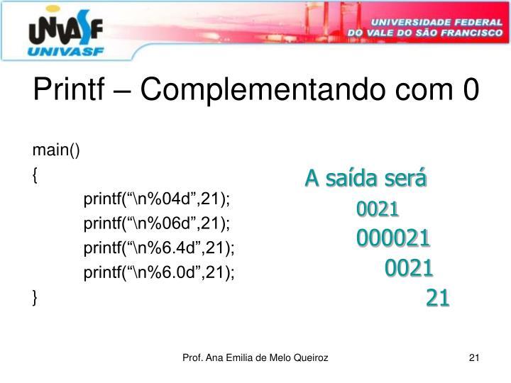 Printf – Complementando com 0