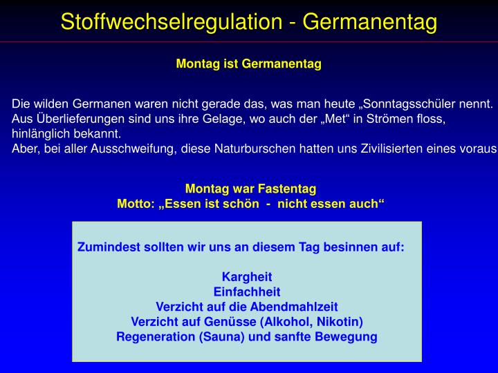 Stoffwechselregulation - Germanentag
