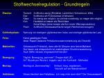 stoffwechselregulation grundregeln