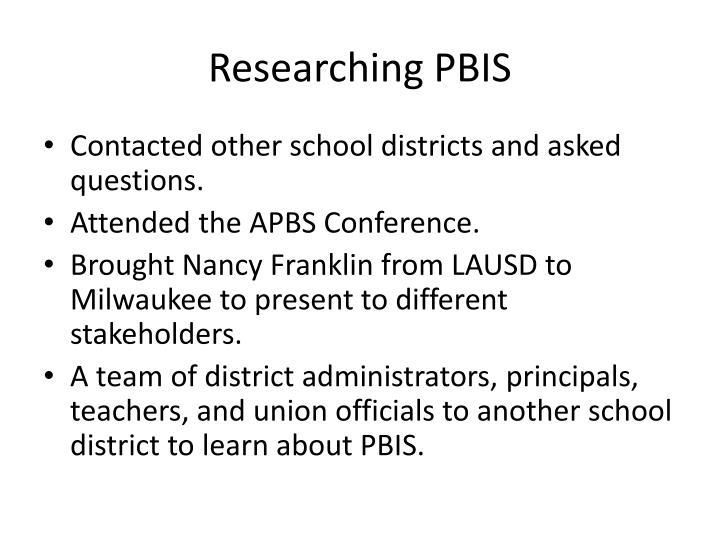 Researching PBIS
