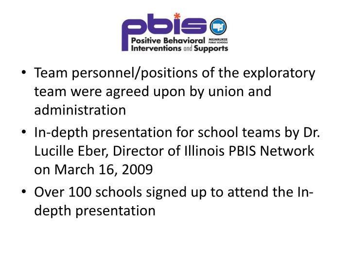 Team personnel/positions of the exploratory team were agreed upon by union and administration