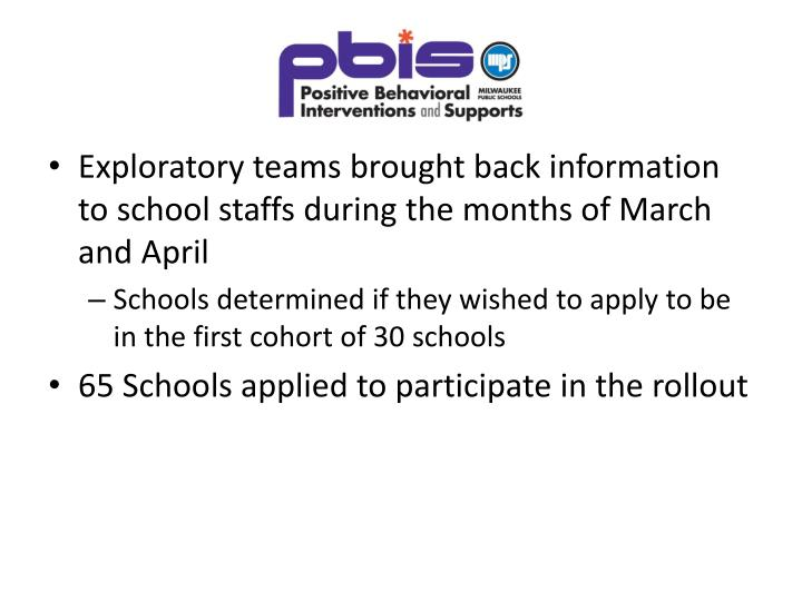 Exploratory teams brought back information to school staffs during the months of March and April