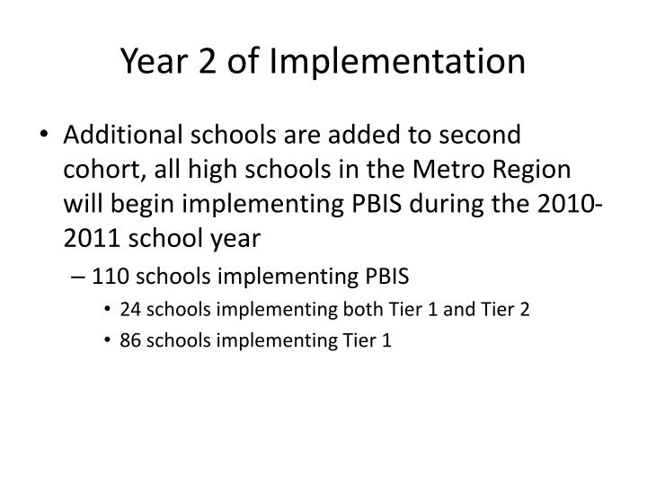 Year 2 of Implementation