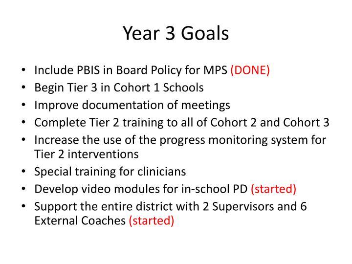 Year 3 Goals