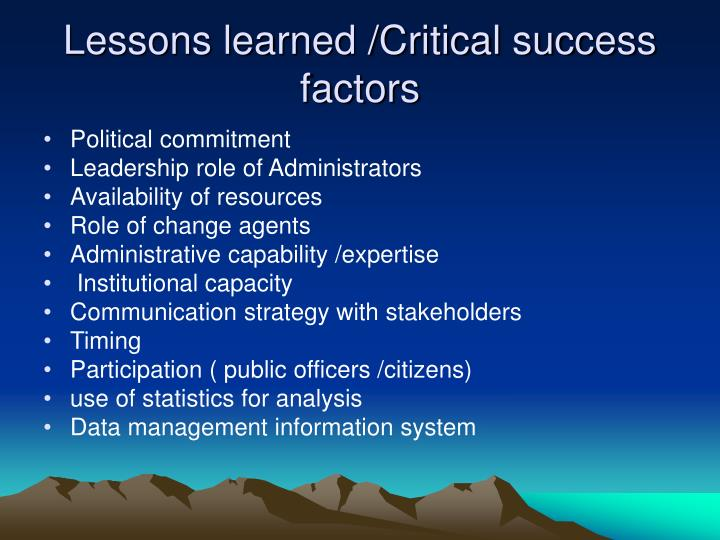 Lessons learned /Critical success factors