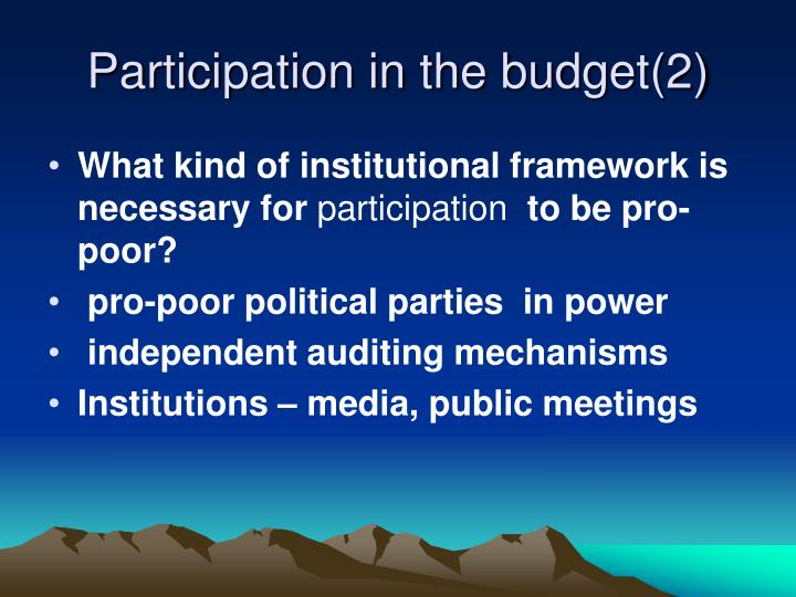 Participation in the budget(2)