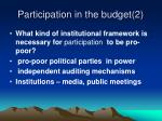 participation in the budget 2
