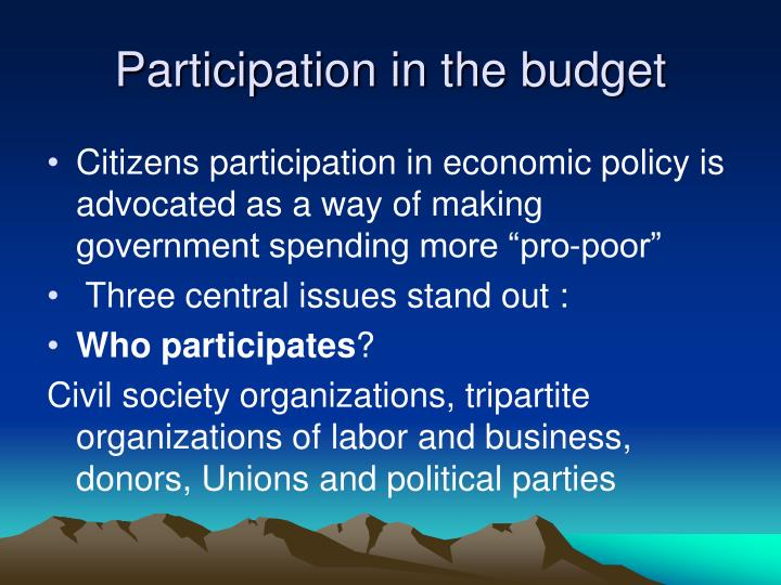 Participation in the budget