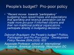 people s budget pro poor policy
