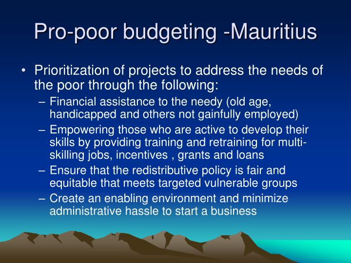 Pro-poor budgeting -Mauritius