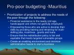 pro poor budgeting mauritius