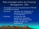 role of budget within the financial management fm
