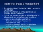 traditional financial management