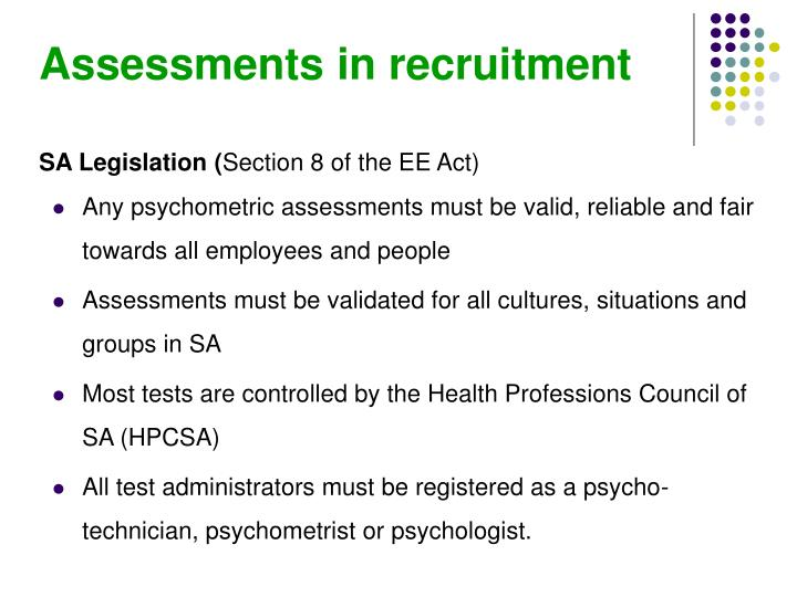 Assessments in recruitment