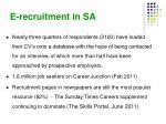 e recruitment in sa3