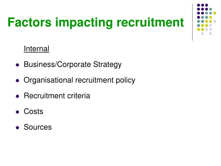 Factors impacting recruitment
