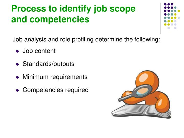 Process to identify job scope      and competencies