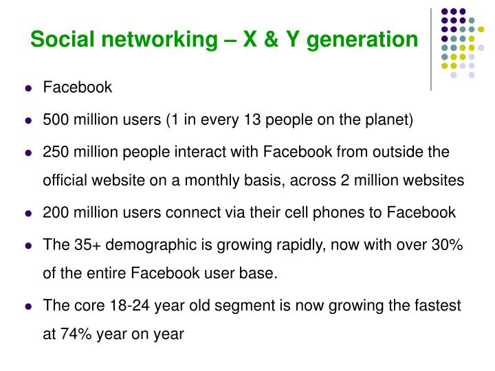 Social networking – X & Y generation