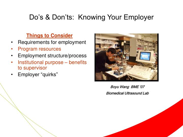 Do's & Don'ts:  Knowing Your Employer