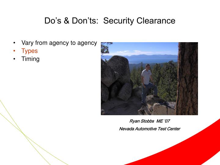 Do's & Don'ts:  Security Clearance