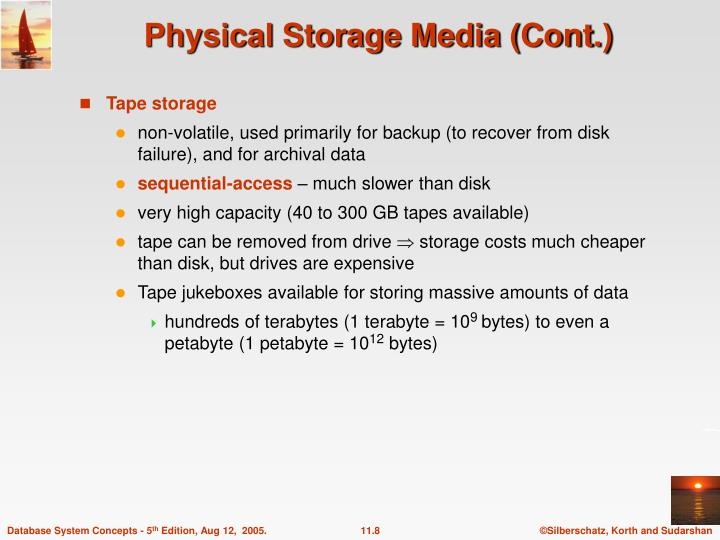 Physical Storage Media (Cont.)