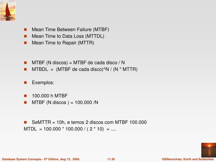 Mean Time Between Failure (MTBF)