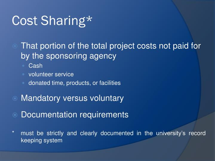 Cost Sharing*